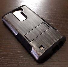 For LG K7 / Tribute 5 - Hard&Soft Hybrid High Impact Armor Case Cover Gray Wood