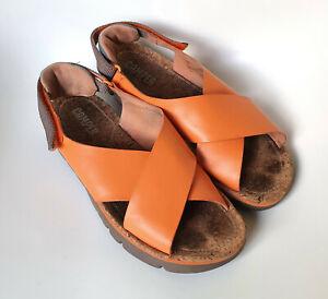 CAMPER Sandalen Sandaletten echt Leder orange Gr. 38 - 39 TOP Zustand