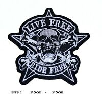 LIVE FREE RIDE FREE SKULL EMBROIDERED IRON OR SEW ON PATCH BIKER APPLIQUES LOGO