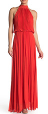 Meghan LA Matador Pleated Maxi Dress Flame L NWT $476