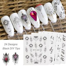 24 Sheets Dream Catcher Water Decals Black Lace Manicure Nail Art Stickers Set