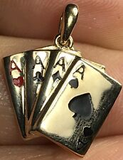 14k SOLID Real yellow Gold four Playing Card poker Ace charm Pendant 1.7g .75""