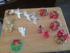 LOT of 14 VINTAGE CHRISTMAS ORNAMENTS Various Types, Tin Birds, Bone China, Wood