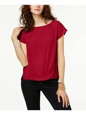 INC Womens Red Short Sleeve Jewel Neck Top Size: S