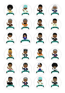 24 edible Black History Month D1 Iced Icing Fondant 4cm Cupcake Toppers Cake