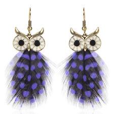 3D Bird Handmade Jewelry Hook Drop Dangle Crystal Owl Feather Ear Stud Earrings