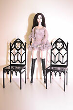 2 chairs Gothic for dolls 1:6 12 inches Barbie FR  Furniture wooden color black
