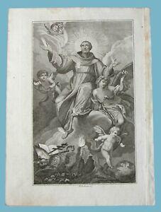 San Francesco d'Assisi in gloria stampa originale Stigmate Angeli patrono Italia