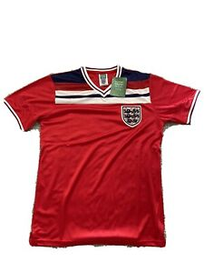 ENGLAND RETRO RED AWAY 1982 SCORE DRAW FOOTBALL SHIRT - MEDIUM M ADULT - BNWT