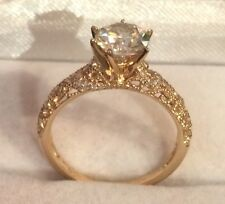 Solitaire 10k Solid Yellow Gold Ring Filigree ~ 1.21Ct H-J Color Moissanite