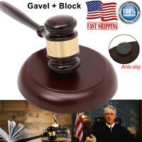 Wooden Handcrafted Hammer Hardwood Gavel+Sound Block f/ Lawyer Judge Auction US