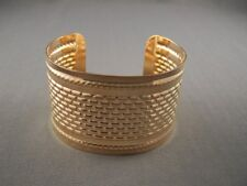"""Gold tone shiny metal bangle cuff 1.75"""" wide bracelet textured rope pattern"""