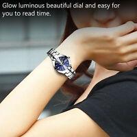 Quartz Analog Digital Waterproof Watch Women Stainless Steel Date Wristwatch