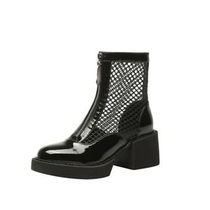 Women New Fashion Mesh Breathable Block Heel Motor Zip Up Outdoor Ankle Boots L