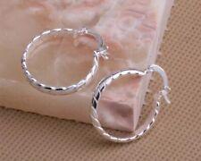 2cm Wide 925 Sterling Silver Twisted Textured Medium Hoop Earrings E38