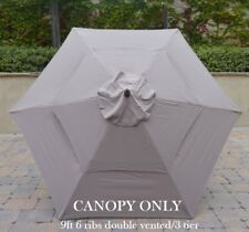 Double Vented 9ft Replacement Umbrella Canopy 6 Ribs in Taupe (Canopy Only)
