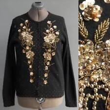 VTG Hand Beaded Dress Sweater Black Angora Wool Blend Gold Sequins Glass Beads L