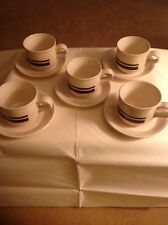 Staffordshire Potteries Tableware 5 Cups & Saucers Colour Brown/Cream