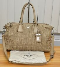 Prada Nappa Gaufre Beige 2Way Tote Bag Used Authentic w/ Dustbag