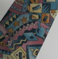 "Turquoise Pink Brown Abstract Silk Tie 3.9"" Wide 58"" Long"