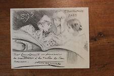 1895 Octave Uzanne Carte de voeux artistique Très rare Lithographie H. P. Dillon
