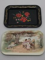 Metal Serving Tray VTG Miniature Black w/Roses Hand Painted & Children Lot of 2
