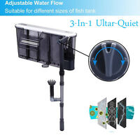 Aquarium External Hanging Fish Tank Filter 3-In-1 Quiet Submersible Water Pump