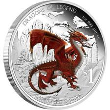 2012 $1 Dragons of Legend Red Welsh Dragon 1oz Silver Proof Coin COA 2012