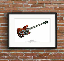 Mick Taylor'S Gibson Sg Guitare Art Affiche A2 Taille