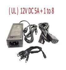 12VDC 5A Power Supply+ 8 Split For CCTV Security Camera DVR Swann Lorex Defender