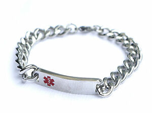 MENS STAINLESS STEEL MEDICAL BRACELET ENGRAVED PERSONALISED WITH INFO WARFARIN