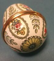 Bilston Battersea by Halcyon Days Enamel Flower Egg Trinket / Pill Box EUC