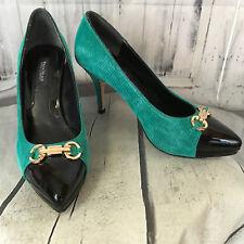 White House Black Market Sz 6M Shoes Pumps Black Green Gold High Heels Stiletto