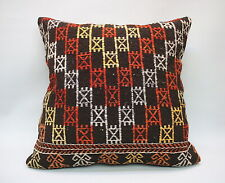"Kilim Square Pillow, 20""x20"", Decorative Throw Cushion, Handmade Vintage Pillow"