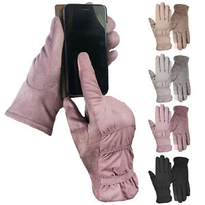 Ladies Smart Touch Screen Gloves Shower Proof Upper Soft Faux Suede Palms iphone