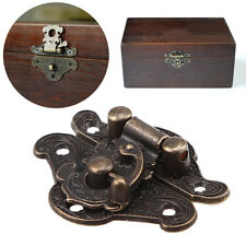 US Vintage Jewelry Box Hasp Latch Lock Buckles Antique Bronze Carved Flower Deco