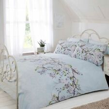 ELOISE FLORAL DOUBLE DUVET COVER SET BIRDS BRANCHES - DUCK EGG BLUE