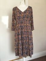 Monsoon 14 Multi Womens Jersey Floral Spring Summer Holiday Dress Wrap Style