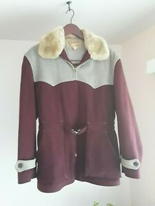 1940's Vintage SPORTSCLAD Wool Jacket Burgundy /Gray Faux Fur Collar Medium Coat