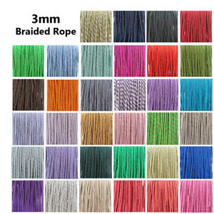 3mm BARLEY TWIST BRAIDED ROPE  CORD POLYESTER ROPE CRAFTS STRING 34 COLOURS