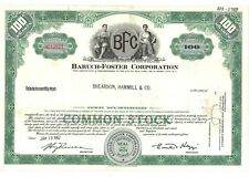 Stock Certificate of Baruch-Foster Corporation