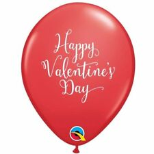 "5 Happy Valentines Day Classic Script Writing Red 11"" Qualatex Latex Balloons"
