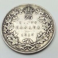 1917 Canada Twenty Five 25 Cents Quarter Silver Canadian Coin C257