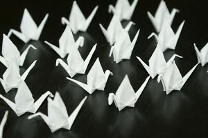 Lot 25 mini grues en origami blanches