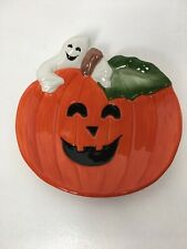 Fitz & Floyd Halloween Pumpkin Ghost Canapé Canape Plate 2050 280 1996 New
