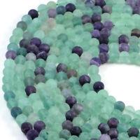Semi-Precious Natural Matt Fluorite 8mm Round Gemstone Jewellery Making Beads...