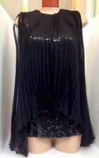 Christian Dior Top Black Stretch  Sequin Chiffon Pleated Panels NWT SIZE 36