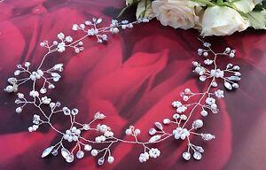 Pearl, Crystal and Diamanté Long Hair vine, Bridal crown, bridesmaid, prom boho