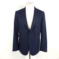 Windsor Sartorial Sakko Herren Gr 50 Blau Nadelstreifen Super 100 Wolle Knöpfbar