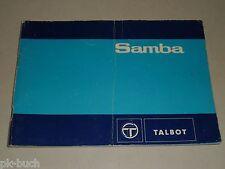 Instrucciones Servicio Manual Handleiding D'Entretien Talbot Samba, 09/1981